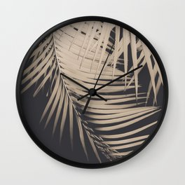 Palm Leaves Sepia Vibes #1 #tropical #decor #art #society6 Wall Clock