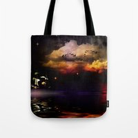 pirate ship Tote Bags featuring Pirate Ship by Moon Willow