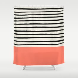 Coral x Stripes Shower Curtain