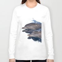 dolphins Long Sleeve T-shirts featuring Dolphins by Chloe Yzoard
