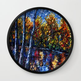 Autumn Forest River  (Palette Knife) Wall Clock
