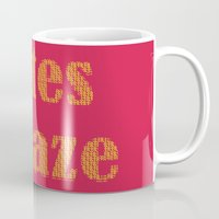 totes Mugs featuring Totes Amaze Pink/Yellow by PintoQuiff