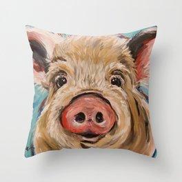 """Pig Art """"Octavia"""" pig painting Throw Pillow"""