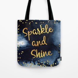 Sparkle And Shine Gold And Black Ink Typography Art Tote Bag