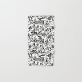 Alice in Wonderland | Toile de Jouy Pattern | Black and White | Vintage Pattern | Victorian Gothic | Hand & Bath Towel