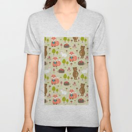 Hand drawn modern coral white green autumn animal Unisex V-Neck