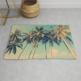 Aloha! Retro palm tree on the beach - summer vibes vintage illustration Rug