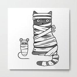 Mummy Cat & Mummy Mouse – Silent Horror Metal Print