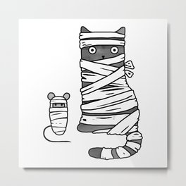 Mummy Cat & Mummy Mouse – Silent Horror Metal Print