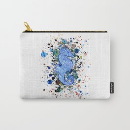 Seahorse Watercolor Splatter Carry-All Pouch