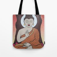 buddha Tote Bags featuring Buddha     by Marjolein