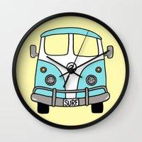 vw bus Wall Clocks featuring VW Bus Blue by Cheryl Syminink