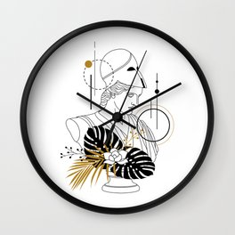 Athena (Minerva). Creative Illustration In Geometric And Line Art Style Wall Clock