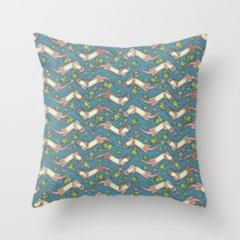 Swimming Otters Pastel Tones Throw Pillow