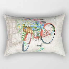 Vintage Red Bicycle with Flowers City Background Rectangular Pillow