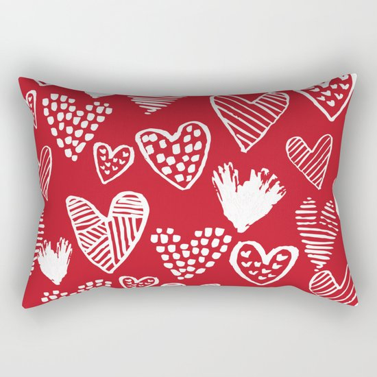 Herats red and white pattern minimal valentines day cute girly gifts hand drawn love patterns Rectangular Pillow