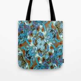 Turquoise Floral Fashion Tote Bag