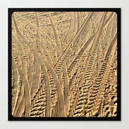 Tire tracks in the sand. Canvas Print