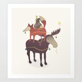X-Moose Tree Art Print