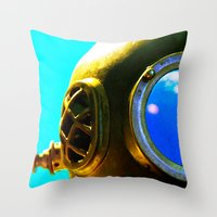 diver Throw Pillows featuring Diver by Violet86