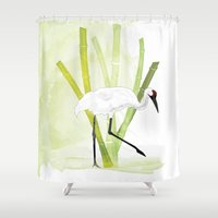crane Shower Curtains featuring Crane by Xiao Twins