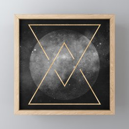 Gold Moon Geometric Tribal Design Framed Mini Art Print