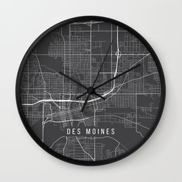 Des Moines Map, USA - Gray Wall Clock