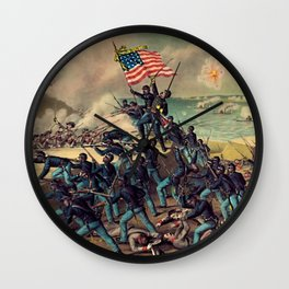 African American Civil War Troops Storming Fort Wagner Landscape Wall Clock