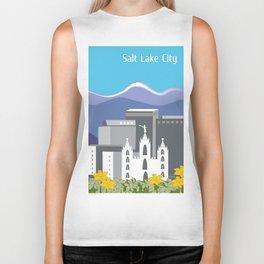 Salt Lake City, Utah - Skyline Illustration by Loose Petals Biker Tank
