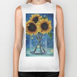 Lightning Bugs and Sunflowers Biker Tank