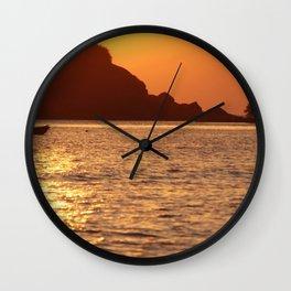 Boat at Sunset Palolem Wall Clock