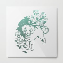 Mini Poodle with Peonies | Mint Turquoise Ombré Metal Print