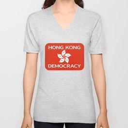 Democracy Hong Kong Flag Unisex V-Neck