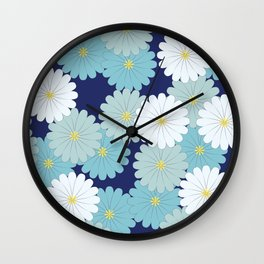 Blue oriental flowers Wall Clock