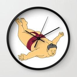Japanese Sumo Wrestler Skydiving Drawing Wall Clock