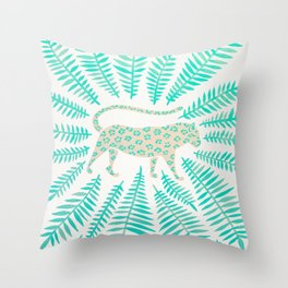 Jaguar – Turquoise & Mint Palette Throw Pillow
