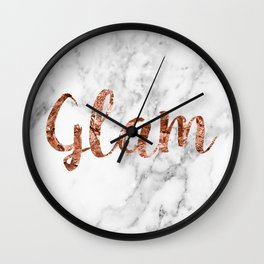 Rose gold on marble - glam Wall Clock