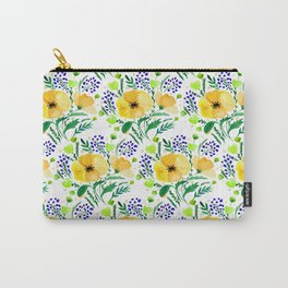 Flower bouquet with poppies - yellow and blue Carry-All Pouch