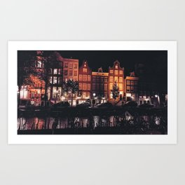 Amsterdam canal at night Art Print