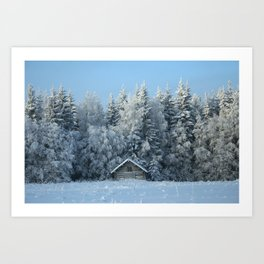 Snow Forest and Hay Barn Art Print