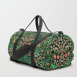 William Morris Jacobean Floral, Black Background Duffle Bag