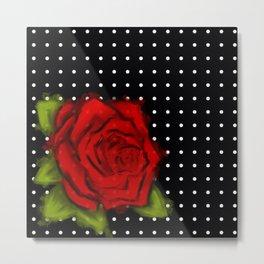 Red Rose, White Dots Metal Print