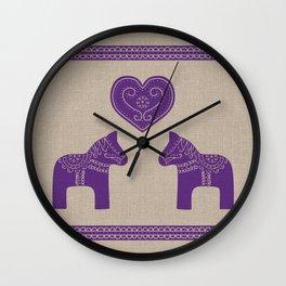 Christmas Purple Dala Horses on Burlap Wall Clock