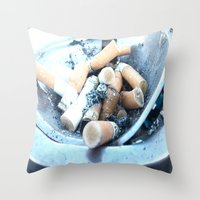 cigarettes Throw Pillows featuring Cigarettes by Beatrice