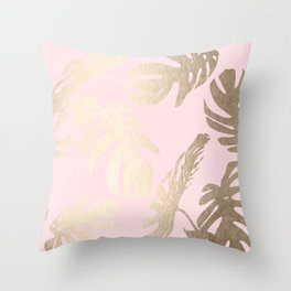 Simply Tropical Palm Leaves White Gold Sands on Flamingo Pink Throw Pillow