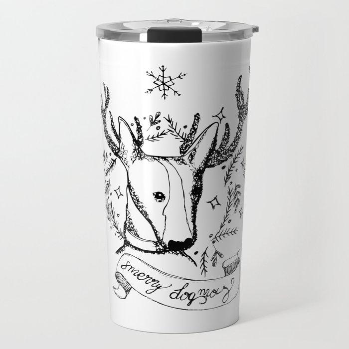 Merry dogmas Christmas dog Travel Mug