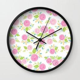 Pink Paper Roses Wall Clock