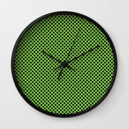 Jasmine Green and Black Polka Dots Wall Clock