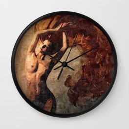 Flames of passion - sexy nude redhead girl Wall Clock
