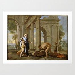 Nicolas Poussin - Theseus Finds His Father's Sword Art Print